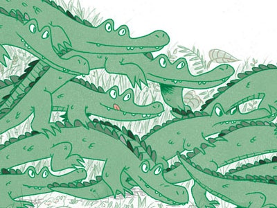 Crocs chasing Popo popo 3-color riso digital 2-color crocodiles