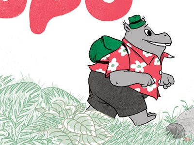 Popo on the go! popo hippo hippopotamus comics illustration 3-color digital riso