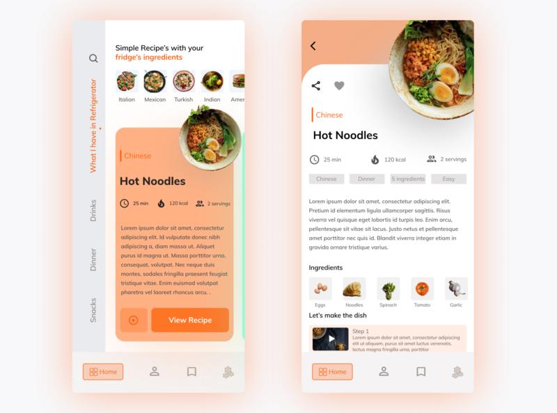 Recipe App Main recipe card recipe app recipe application appdesign typography app design illustration app designer app animation ux ui design