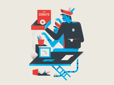 Donut Vice hunter cats police computers food illustrator illustration