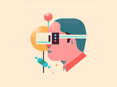 Technology century virtual reality vr computers food illustrator illustration