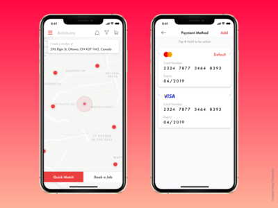 Payment & Location Screens
