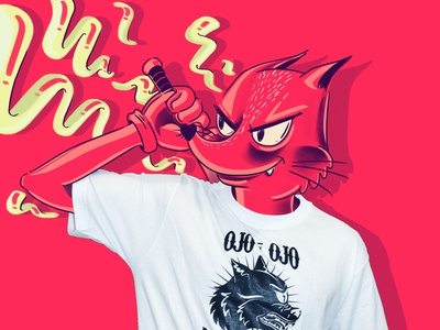 Ojo x ojo \ eye x eye red eye photoshop tee shirtdesign digital illustration digital art digitalart art drawing fox illustration fox illustration