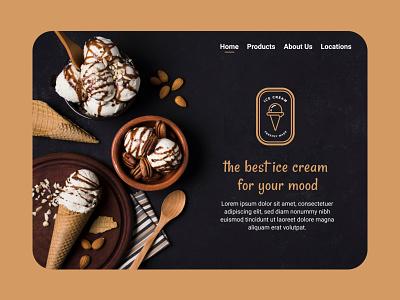Ice cream web main page icecream design web uiwebdesign uidesign ui