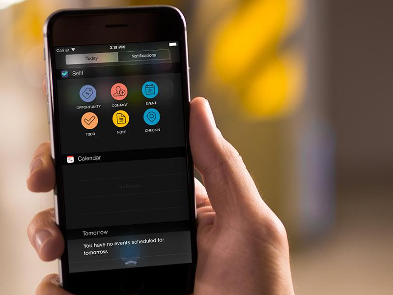 Sellf widget on iOS8 business crm apple mockup widget ios8 notification app ui ux iphone6 iphone