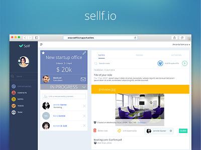 Sellf on the web! ui mockup website note dropbox webapp web business sellf mobile app iphone crm