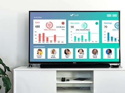 Sellf for Apple  TV Concept  stats competition deals sellf goals leaderboard sales business crm concept apple apple tv