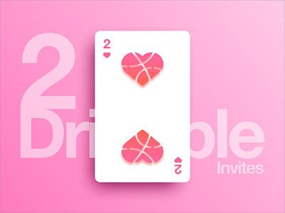 2 Dribbble Invites 💕💌 design valentines day valentine heart card invite dribbble