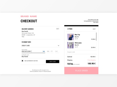 Daily UI #002 - Checkout order summary clothing brand clothing dailyui 002 creditcard checkout payment web dailyuichallenge daily ui daily