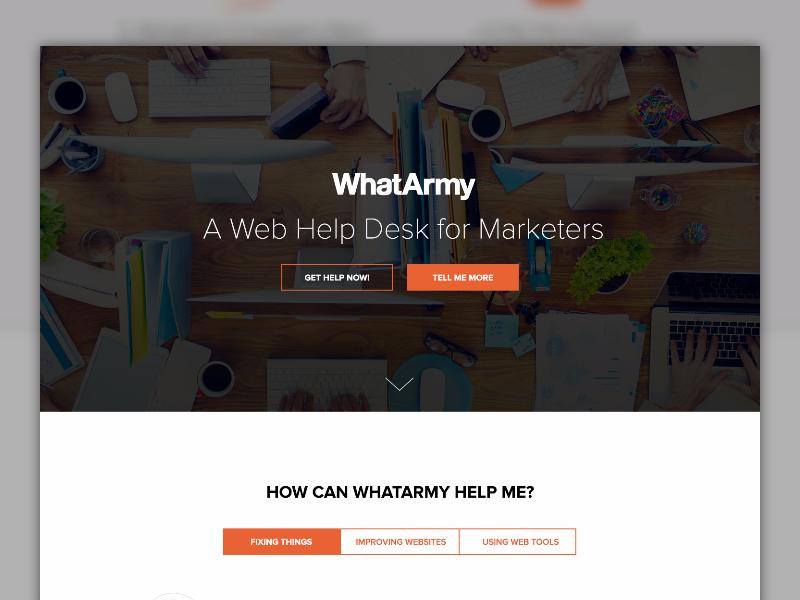WhatArmy Homepage marketing homepage landing page