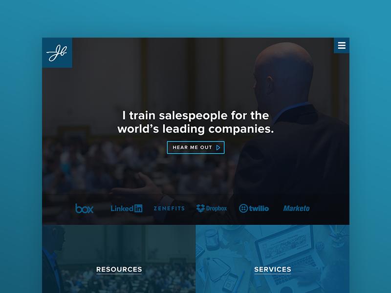 JBarrows Homepage landing page branding marketing ux web design