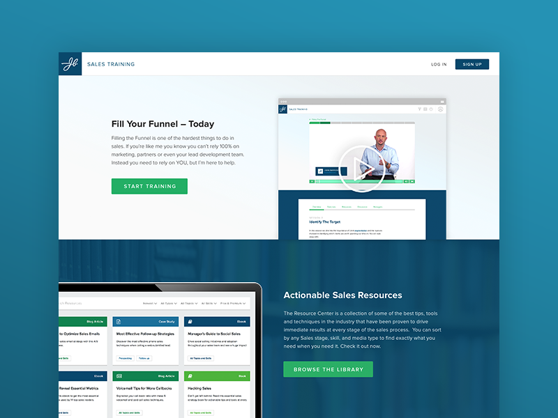 JBarrows Sales Training Portal wordpress woocommerce landing page web app learning website lms product design web design ux