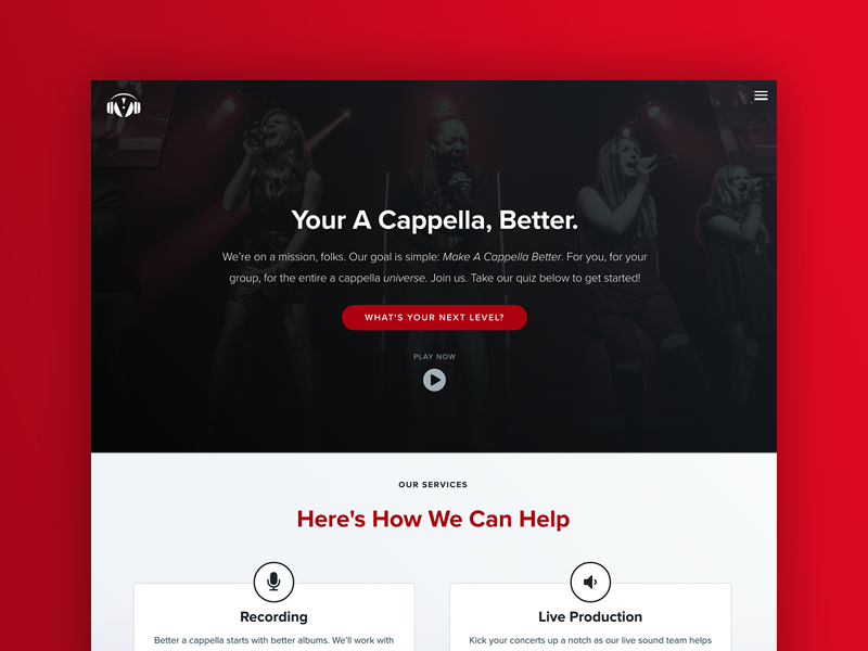 The Vocal Company Homepage marketing inbound ux web design landing page homepage