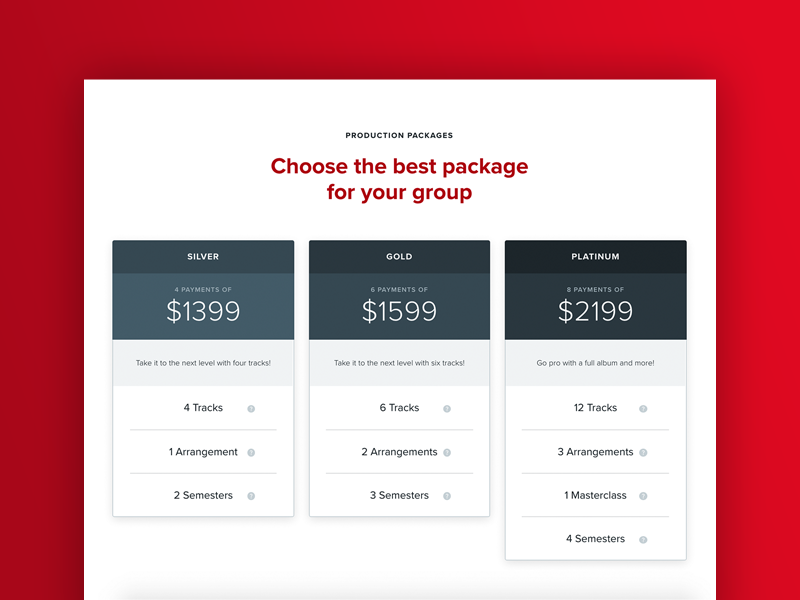 The Vocal Company Pricing Table ux web design e-commerce chart table pricing
