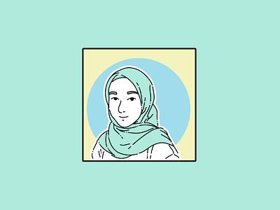 flat art simple mint pastels soft girl character woman islam muslims minimalism prints wall art minimalist illustrator vector flat illustration art clean