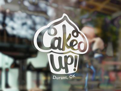 Caked Up! Window affinity designer freelance small business bakery lettering cupcake brand design branding logo design logo