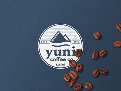Yuni Logo coffee shop line badge submark laos navy pattern mountains branding brand logo coffee