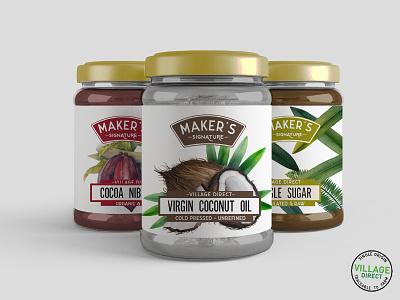 Product Packaging Design packaging coconut oil natural foods packaging design food packaging whole foods mockup jars