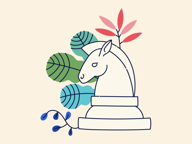 Rook Illustration marketing strategy tropical linework minimal leaves leaf plants chess illustrator illustration