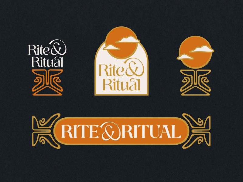 Rite & Ritual Branding | WIP cbd logo branding and identity branding altar chalice clouds sun psychedelic 70s 60s retro vintage logo art nouveau