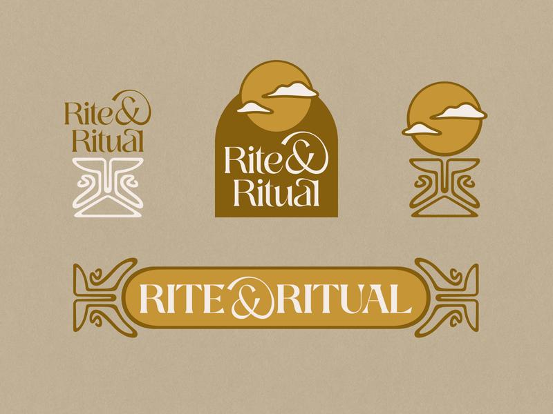 Rite & Ritual Branding | WIP psychedelic victorian cbd retro logo branding and identity branding clouds moon chalice altar vintage retro 70s 60s art nouveau
