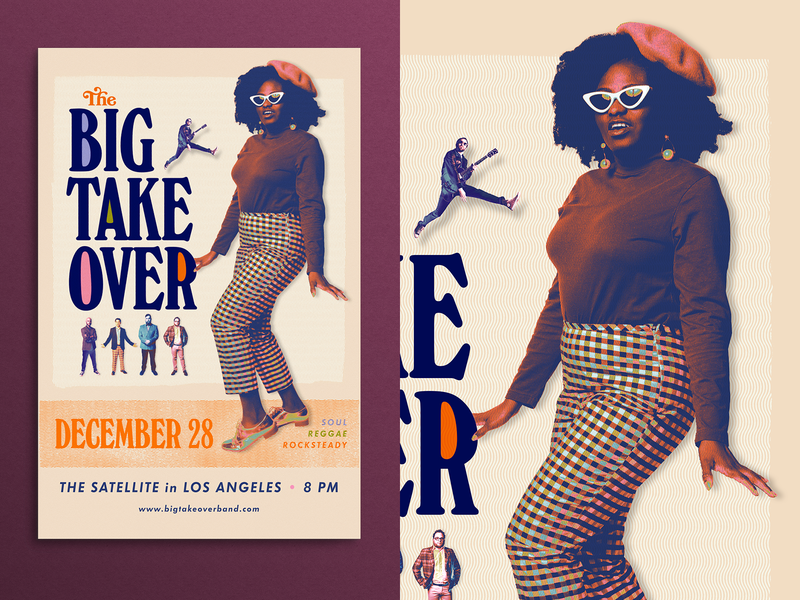 The Big Takeover Tour Poster - 50ft Woman band poster typography tour texture ska reggae halftone gig retro vintage 1970s 1960s music poster
