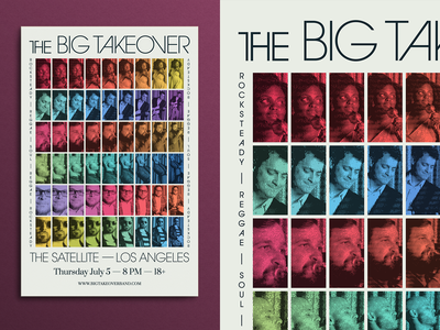 The Big Takeover Tour Poster tour gig posters musician avant garde ska reggae wavy rainbow gradient retro vintage halftone texture 1980s 1970s
