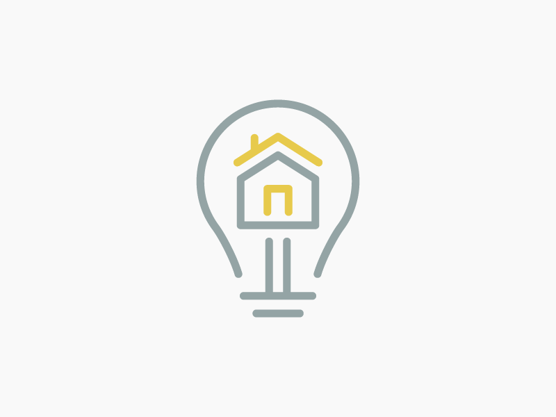 Brilliant Property Management Logo real estate branding logo property management house light bulb