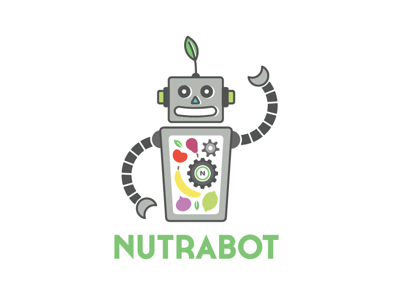Nutrabot Logo atomic gears nutrition vegetables fruits robot healthy logo branding