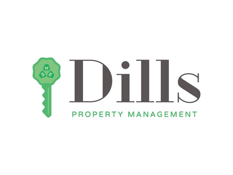 Dills Property Management Logo key property management real estate pickle branding logo
