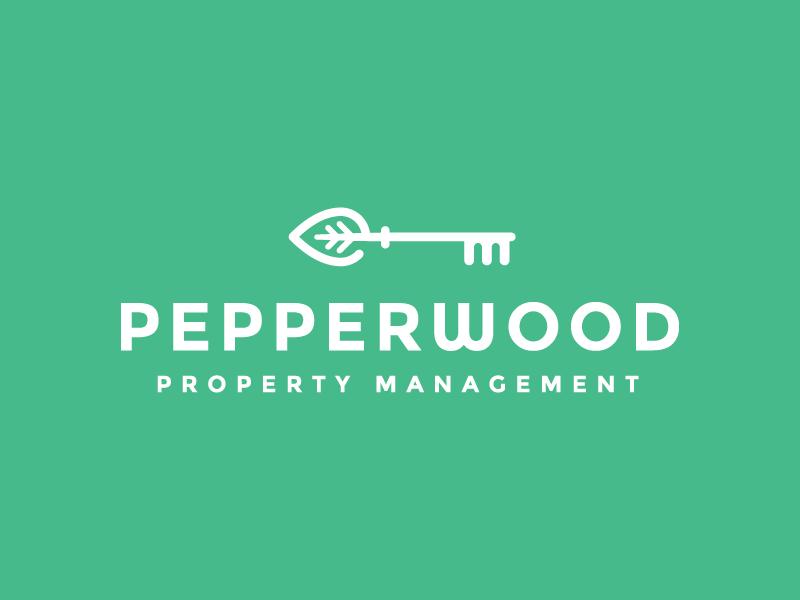Pepperwood Property Management Logo key house real estate leaf skeleton key branding logo