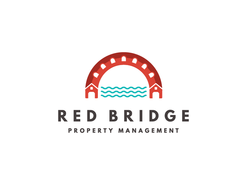 Red Bridge Property Management Logo house real estate branding logo covered bridge water bridge
