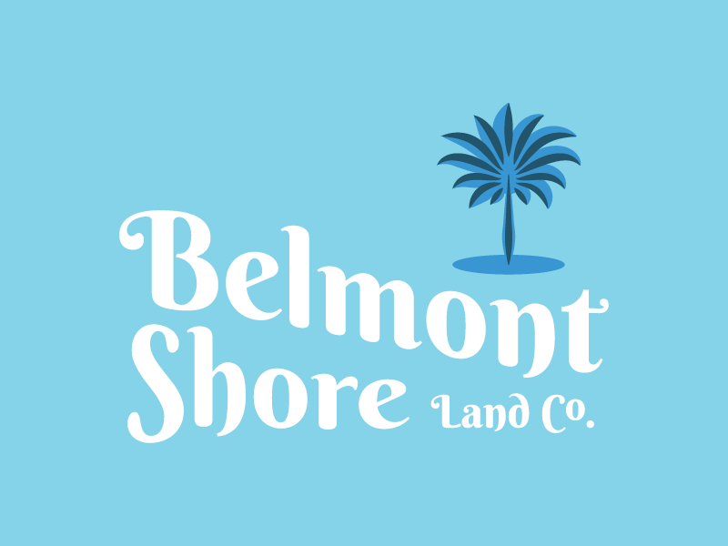 Belmont Shore Land Co. Logo real estate property management boardwalk vintage tree palm branding logo
