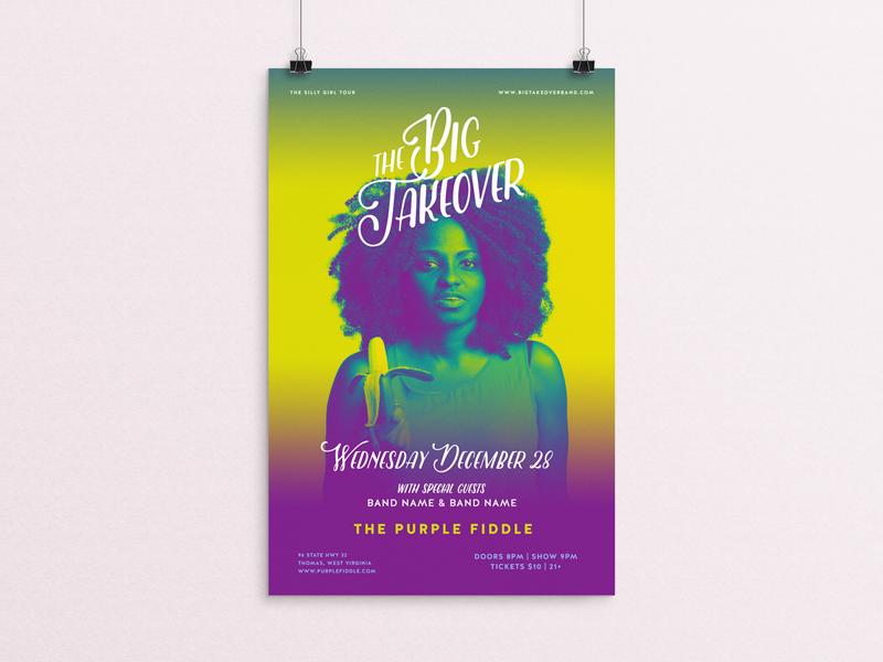 The Big Takeover Gig Poster silly girl big takeover banana pop tour reggae band surreal art direction poster gig