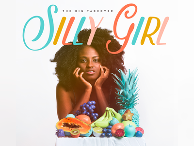 'Silly Girl' Album Cover silly girl band pineapple fruit pop reggae surreal colorful cd album cover art direction big takeover