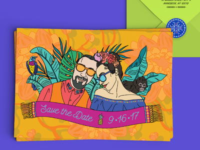 Casa Azul Wedding - Save the Date cobalt bird line drawing floral illustration invitation invite banana leaf hand drawn tropical frida kahlo wedding