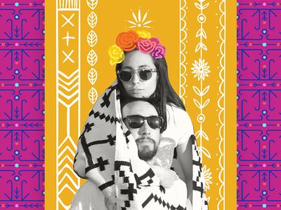 Casa Azul Wedding - RSVP detail geometric native floral flowers illustration hand drawn frida kahlo invitation invite wedding rsvp