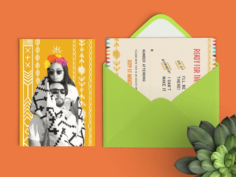 Casa Azul Wedding - RSVP card envelope geometric native floral flowers illustration hand drawn frida kahlo invitation invite wedding rsvp