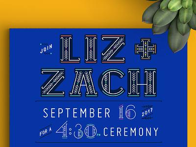 Casa Azul Wedding - Invitation detail swedish design custom type typography pattern cobalt illustration hand drawn cactus frida kahlo invitation invite wedding