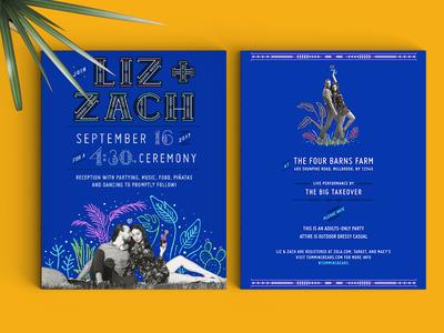 Casa Azul Wedding - Invitation swedish design custom type typography pattern cobalt illustration hand drawn cactus frida kahlo invitation invite wedding
