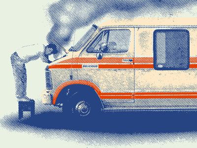 The Big Takeover On Tour - Detail merch big takeover reggae ska 1960s 1980s 1970s smoke van texture halftone typography vintage gig tour band