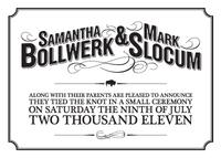 Sam & Mark wedding announcement