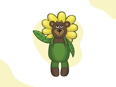 Bear in flower costume flower funny bear art vector character illustration