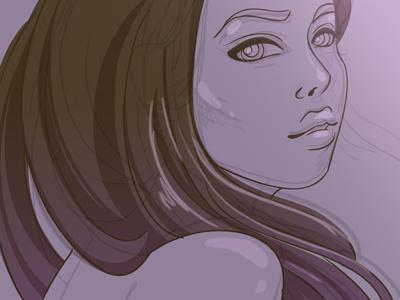 Girl sketch face beauty female woman girl character art vector illustration