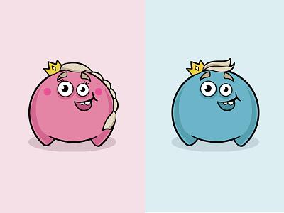 Funny Monster 2 blue pink princess prince smile fun monster character art vector illustration