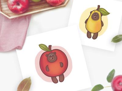 Bear's fruit suits art vector fruits teddybear teddy funny character illustration