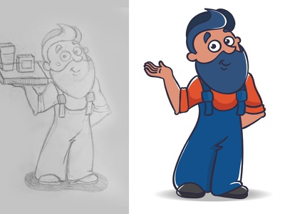 Master man cartoon master man sketch handdrawing art vector character illustration
