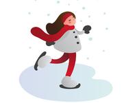Winter skating girl