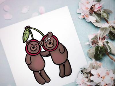 Teddy bears in cherry suit card teddy bear funny cherry art vector character illustration