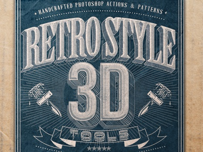 Retro Style 3d Tools - Photoshop Actions 3d action actions pattern patterns retro vintage halftone logo shape text typography